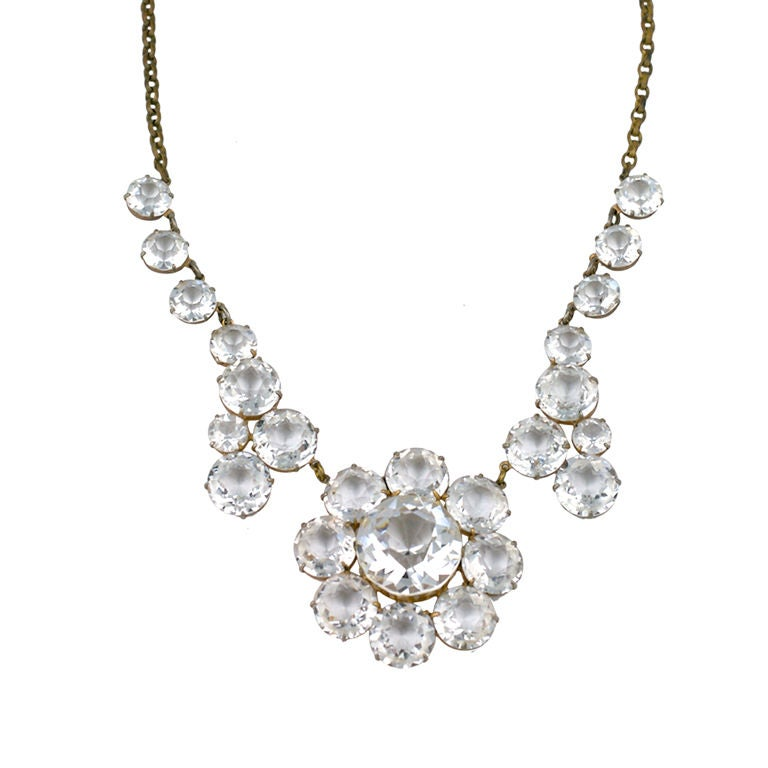 Dramatic Sparkling Crystal 1920s Necklace at 1stdibs