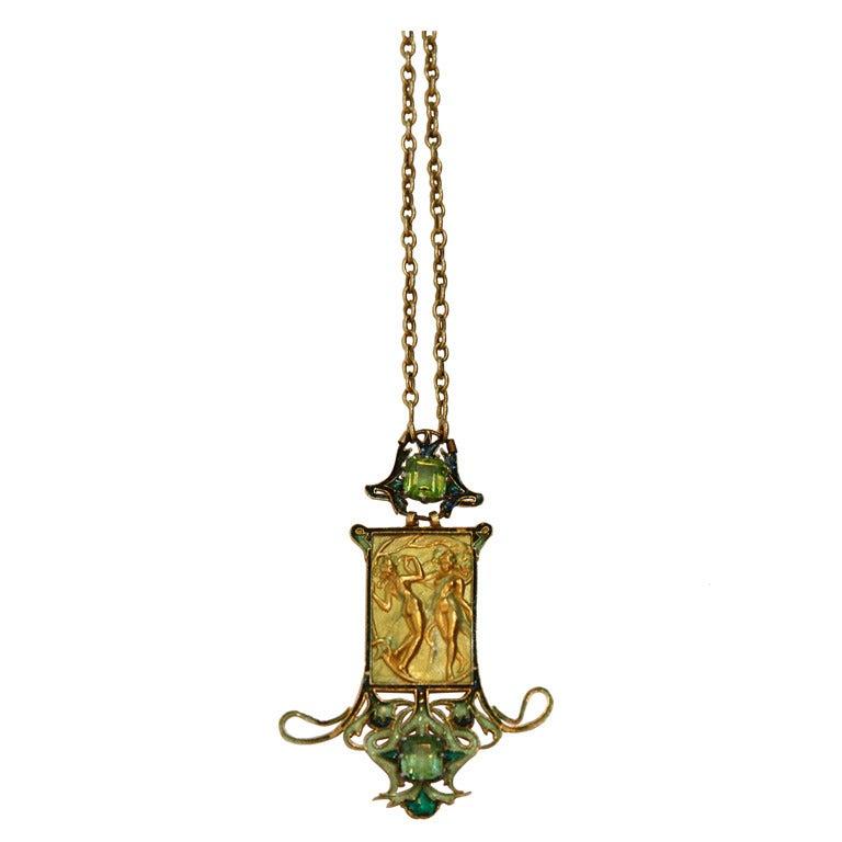 Very Rare Rene Lalique Art Nouveau  Les Danseuses Necklace
