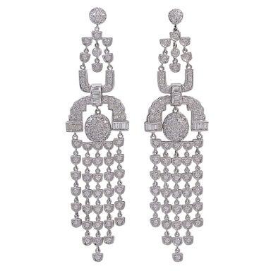 Enchanting Diamond Chandelier Earrings at 1stdibs