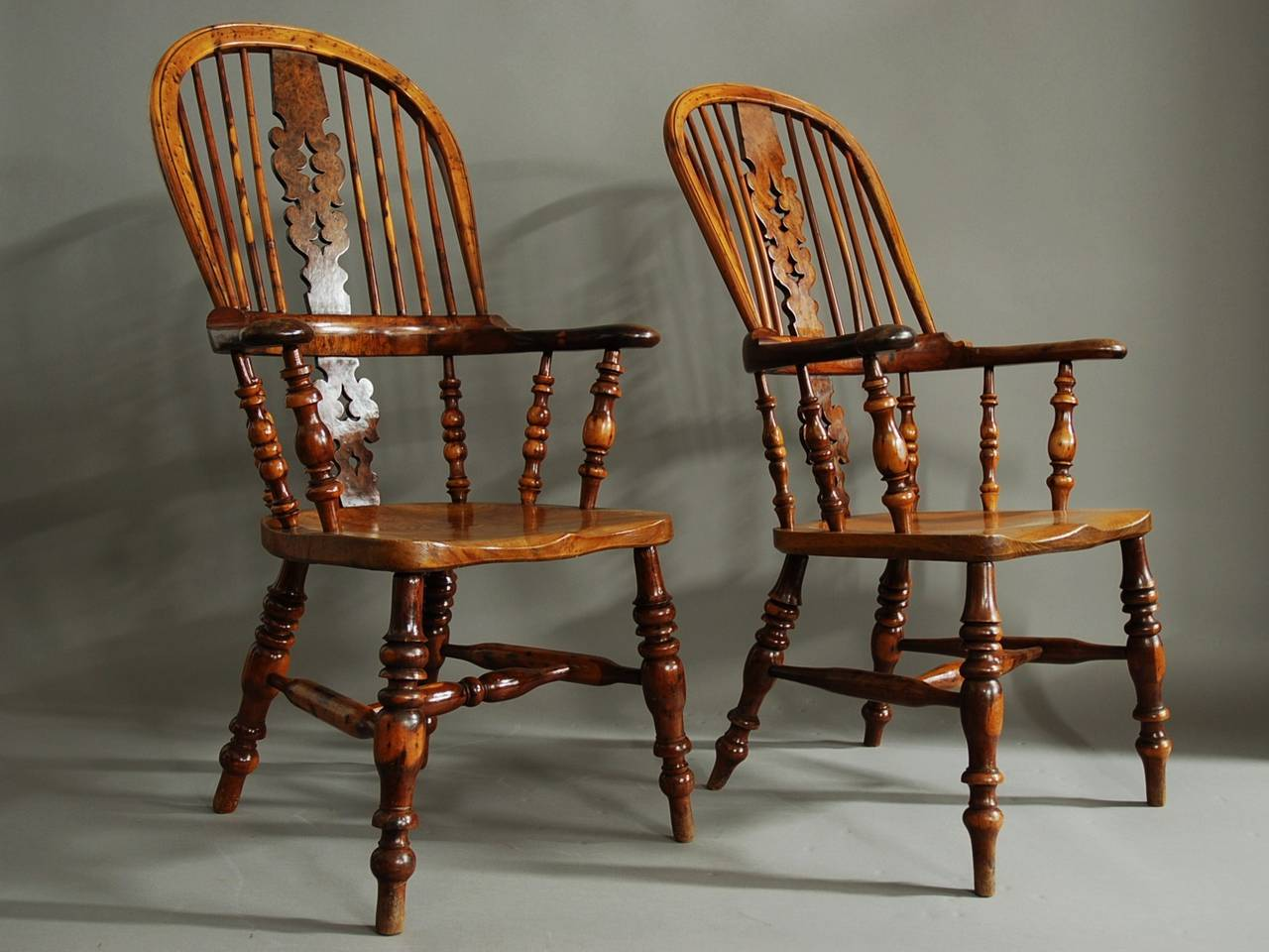 high back chairs with arms camo camping chair pair of broad arm burr yew wood windsor