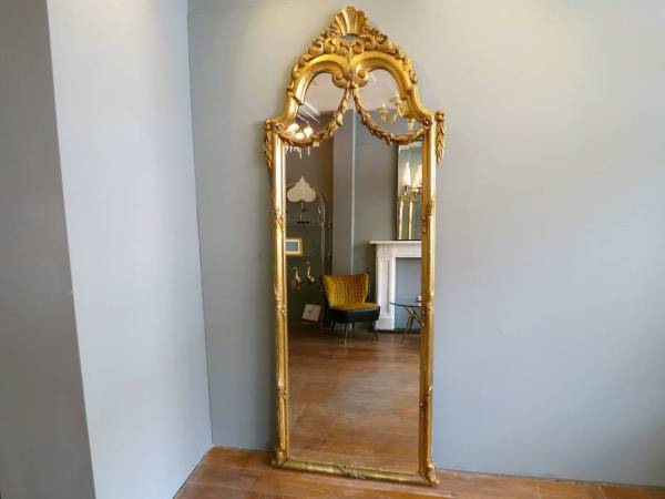 Antique French Floor Standing Mirror