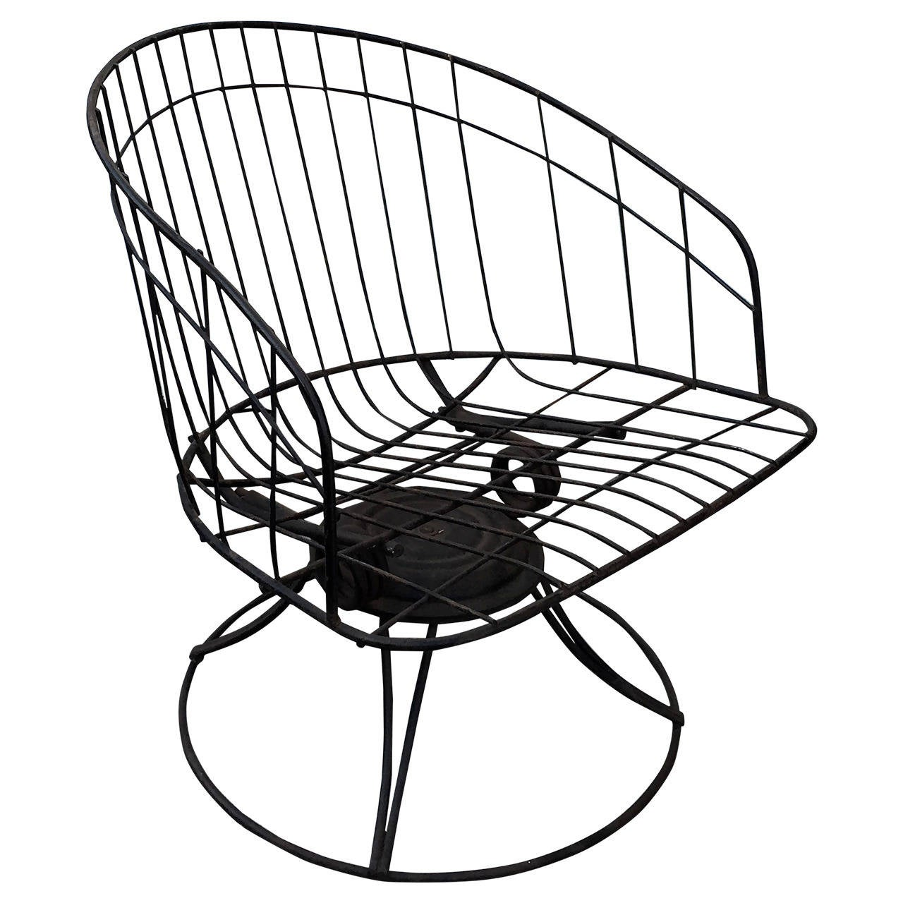 Homecrest Metal Wire Barrel Chair At 1stdibs
