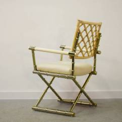 Bamboo Directors Chairs Green Gaming Chair Set Of Four Faux Brass And Rattan