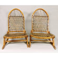 Canoe Chair Counter Height Desk Pair Of Vintage Tubbs Portable Snowshoe Chairs At