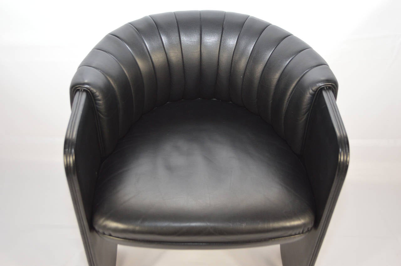 Black Barrel Chair Poltrona Frau Black Leather Barrel Chair At 1stdibs