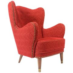Red Club Chair Pedicure For Sale 1940s Danish Wingback Lounge In Frieze At 1stdibs