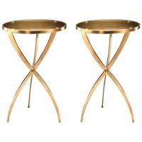 Two French 1940s Style Round Solid Brass Side Tables at ...