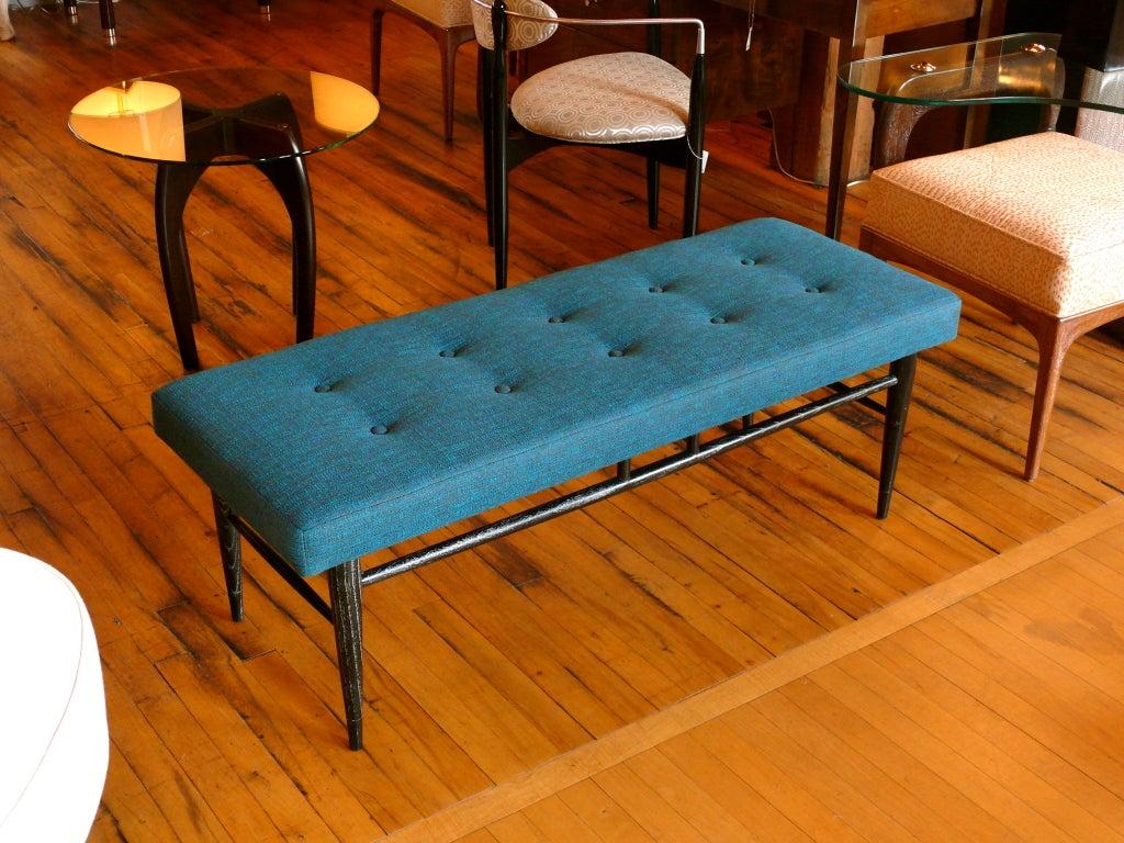 Black Oak Cerused Upholstered Bench At 1stdibs