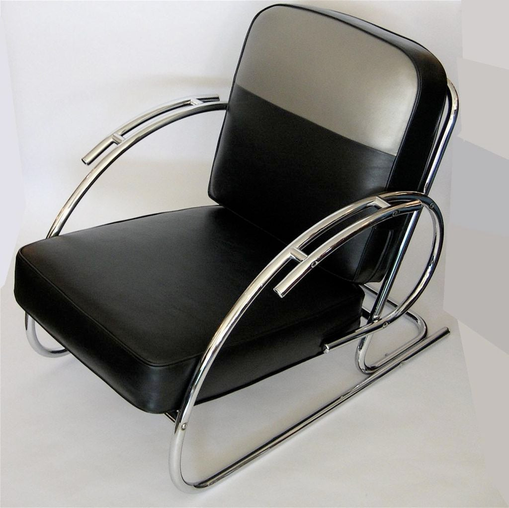 Furniture Seating Lounge Chairs Pair Of Streamline Moderne Art Deco Tubular Chrome Chairs Id F