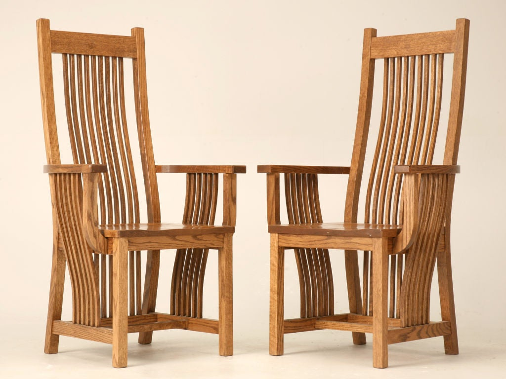 Mission Chairs Set Of 4 Vintage Oak Mission Style Dining Chairs At 1stdibs