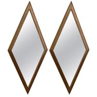 Pair of Diamond Shaped Gilt Wood Wall Mirrors at 1stdibs