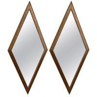 Pair of Diamond Shaped Gilt Wood Wall Mirrors at 1stdibs