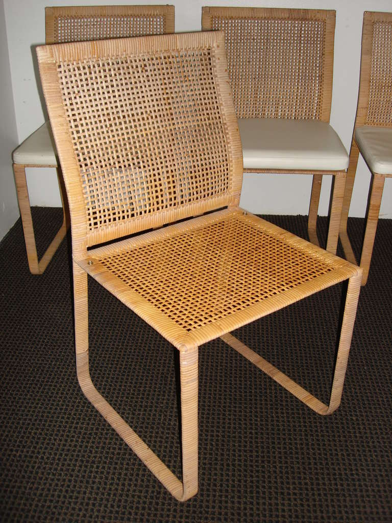 seat cushions for wicker chairs webbed folding lawn rare harvey probber woven rattan dining at 1stdibs