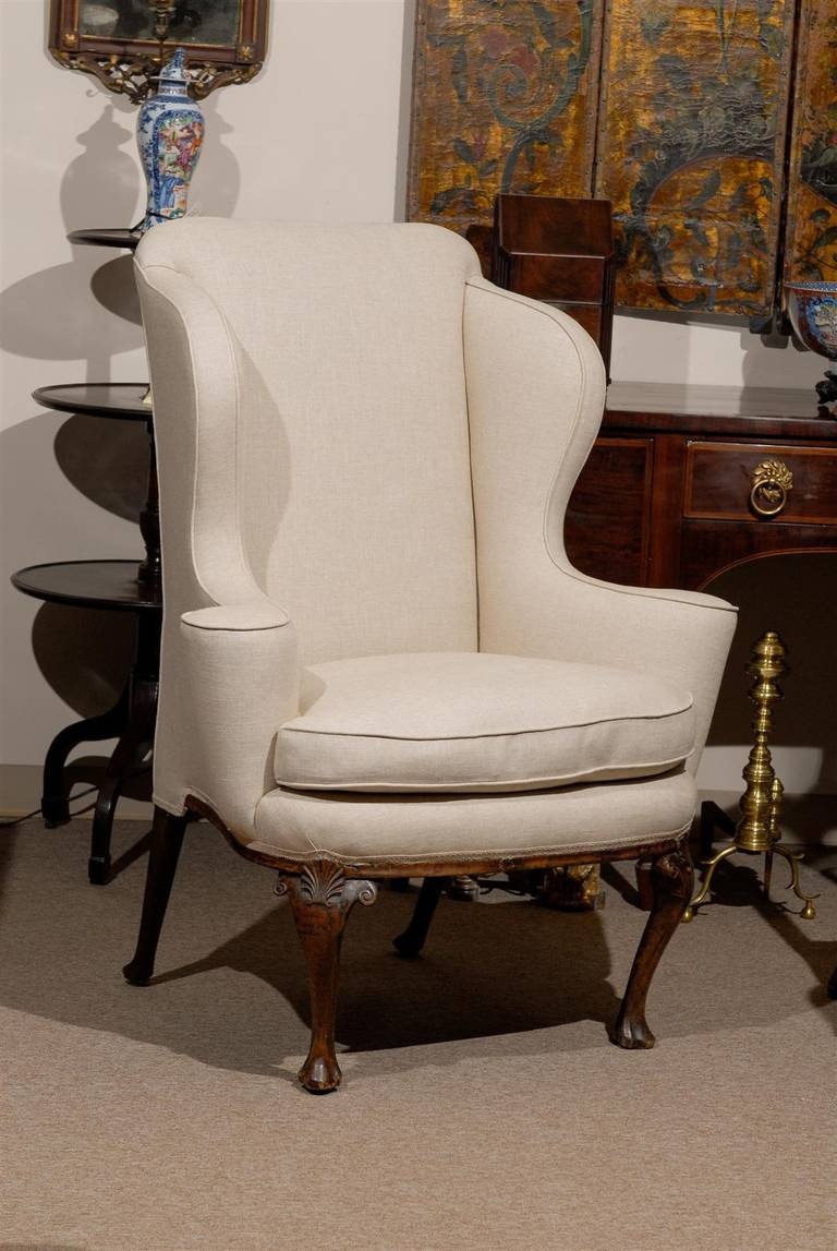 18th Century English Queen Anne Walnut Wing Chair with