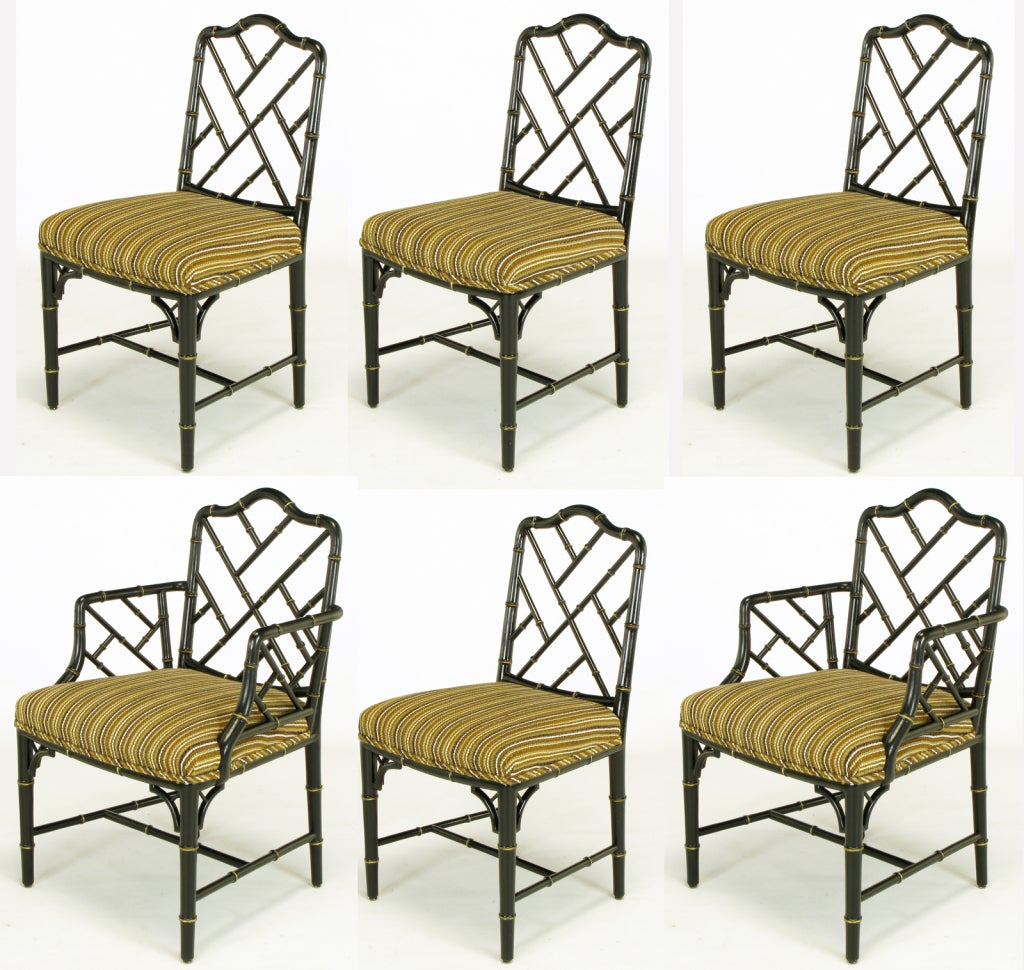 black dining sets with 6 chairs king hickory chair six 1960s lacquer chinese chippendale