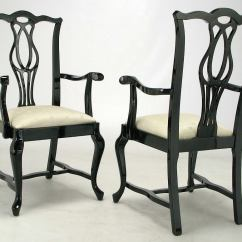 Chippendale Dining Chair Rail Corners Six Italian Black Lacquer Chinese