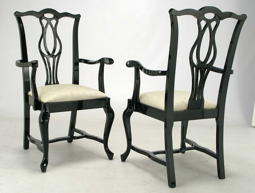 Italian Dining Chairs Six Italian Black Lacquer Chinese Chippendale Dining
