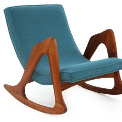 Adrian Pearsall Rocking Chair Hanging Wicker Vancouver Walnut And Upholstered At