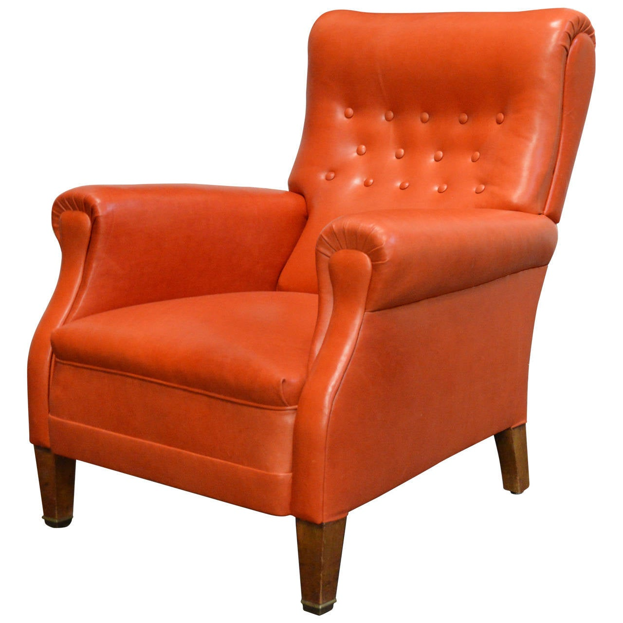 Orange Leather Chair Vintage Swedish Orange Leather Lounge Chair At 1stdibs
