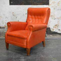 Swedish Leather Recliner Chairs Ergonomic Chair Manufacturers In India Vintage Orange Lounge At 1stdibs