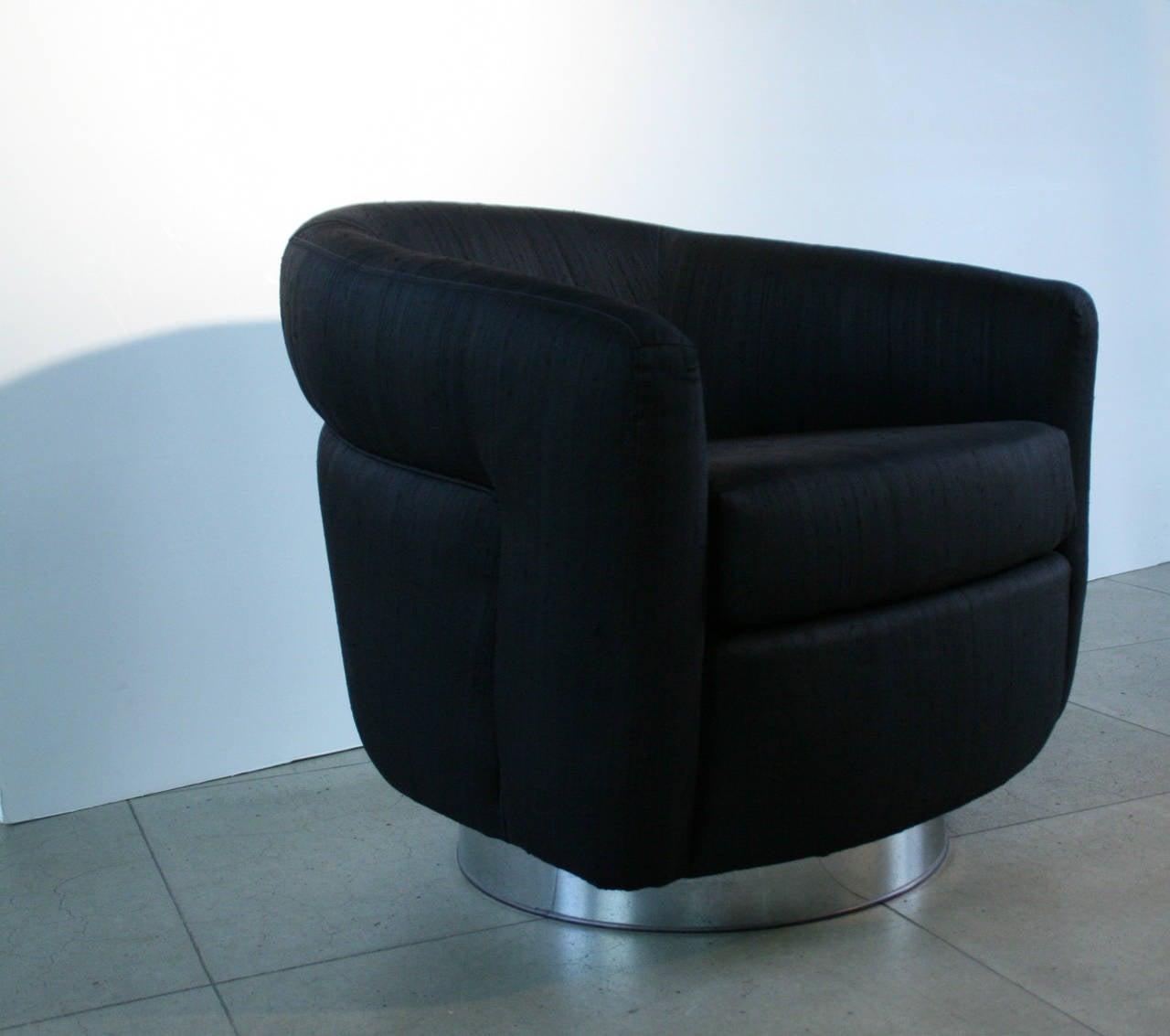 barrel chairs swivel rocker office chair herman miller pair of milo baughman black and rocking