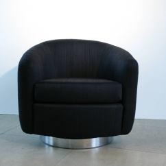 Barrel Chairs Swivel Rocker Ergonomic Chair Computer Pair Of Milo Baughman Black And Rocking