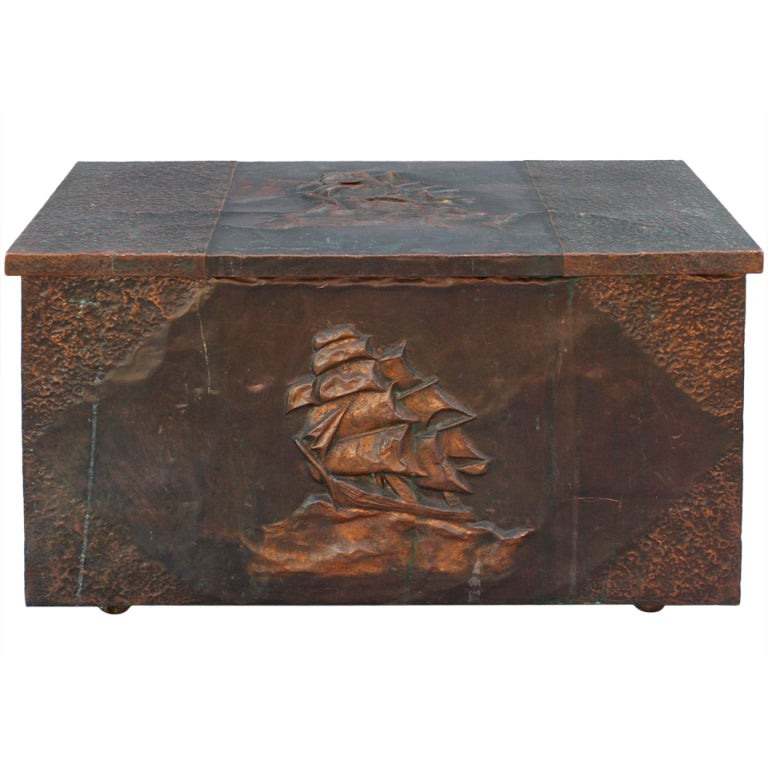 Copper Clad Firewood Box W Repousse Galleon At 1stdibs
