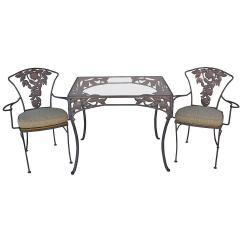 2 Chairs And Table Patio Set Cheetah Print Heel Chair 1940s Pomegranate Two At 1stdibs