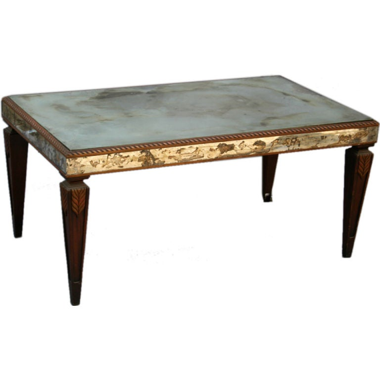 Vintage Mirrored Coffee Table with Wonderful Patina at 1stdibs