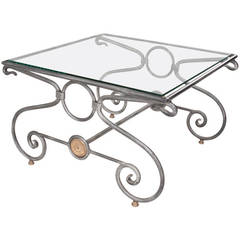 English 1920's Marble and Metal X Base Coffee Table at 1stdibs