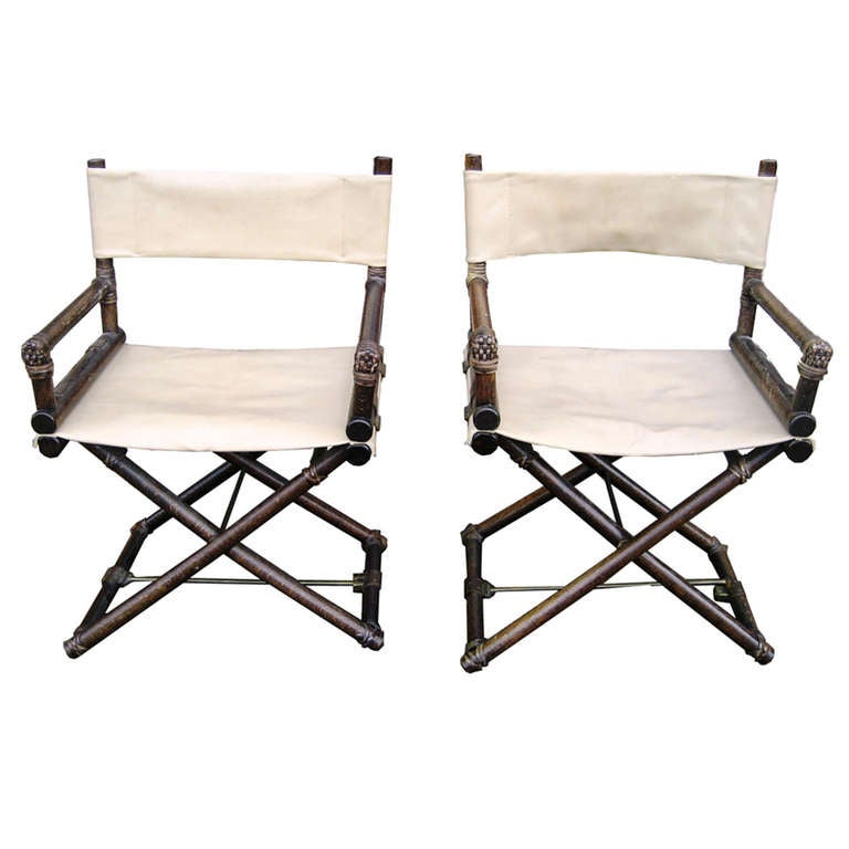 folding chair hinges covers home pair of mcguire oak and leather x-chair director chairs at 1stdibs