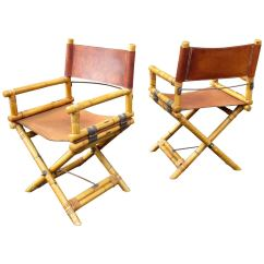 Leather Directors Chair Outdoor Sling Chairs Canada Pair Of Bamboo And Director 39s At 1stdibs