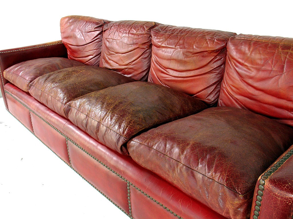 leather sofa atlanta ga lazy boy beds usa 1940's oxblood red with brass nailheads at ...