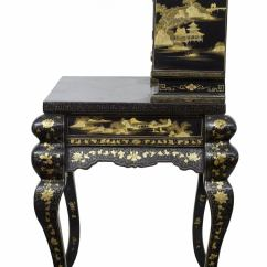 Desk Chair Gold The Egg 1920s Oriental Black Lacquered And Decorated