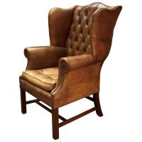 Oversized English Beige Leather Wingback Chair at 1stdibs