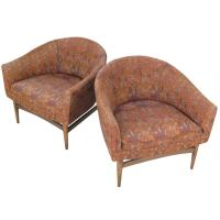Pair Modern Curved Back Lounge Chairs at 1stdibs