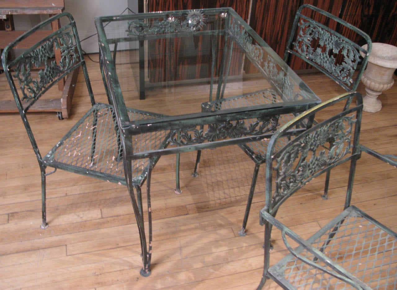vintage wrought iron table and chairs chair covers for lifetime folding 1950s garden set with two tables
