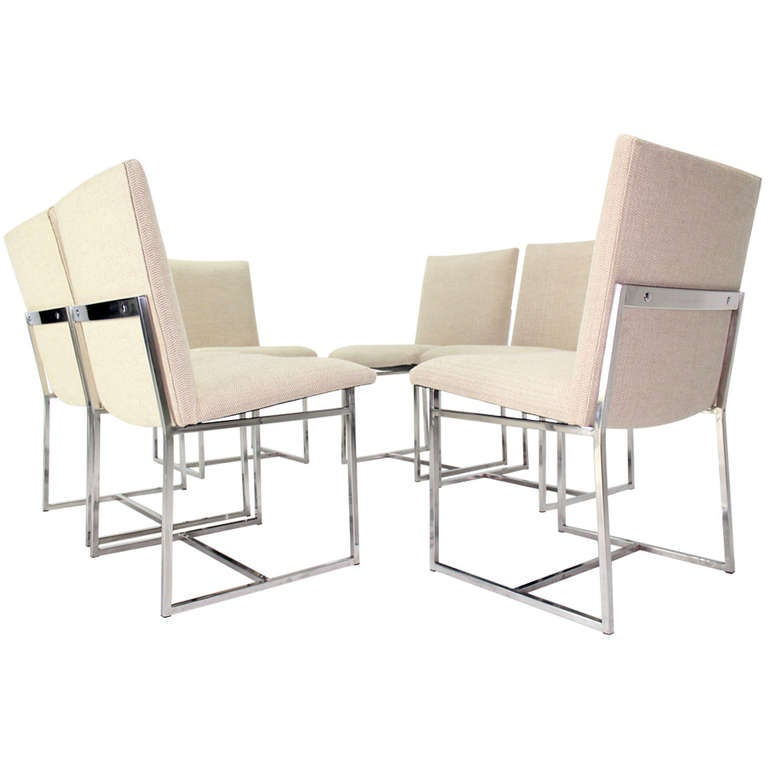 Set of Six MidCentury Modern Chrome Dining Chairs in the