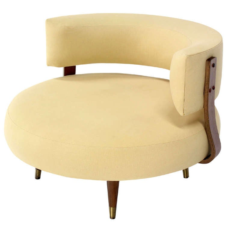 MidCentury Modern Round Swivel Lounge Chair by Adrian