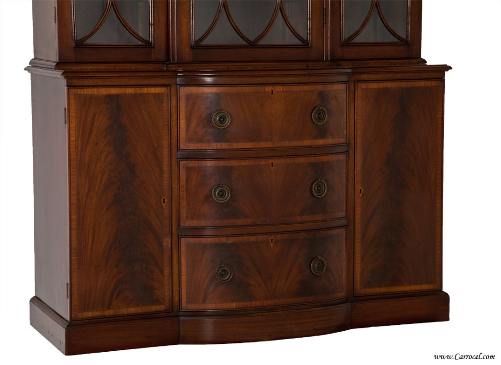 Antique Federal Mahogany Satinwood China Cabinet Bookcase