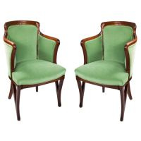 Louis Majorelle Pair of French Art Nouveau Armchairs at