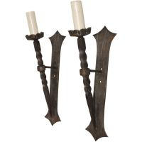 Beautiful Pair of French Wrought Iron Torchiere Sconces at ...
