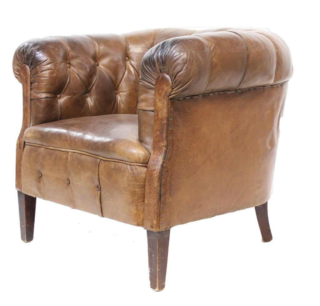 Tufted Leather Chair Leather Tufted Tub Chair At 1stdibs