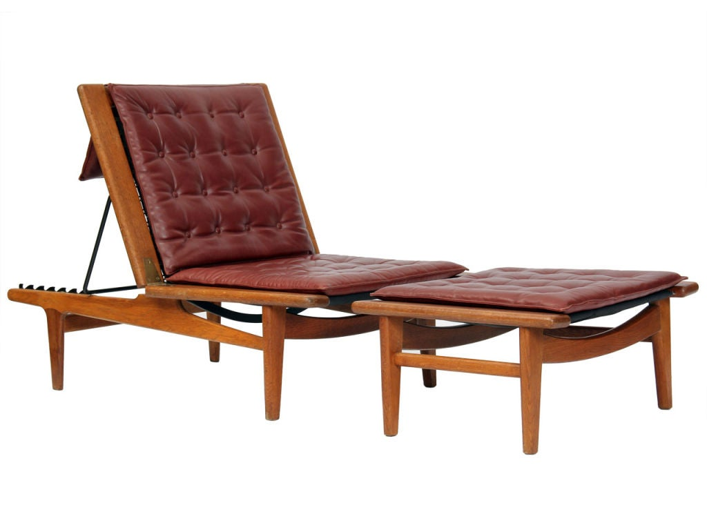 long lounge chair chess table with chairs oak quotlong quot by hans wegner at 1stdibs