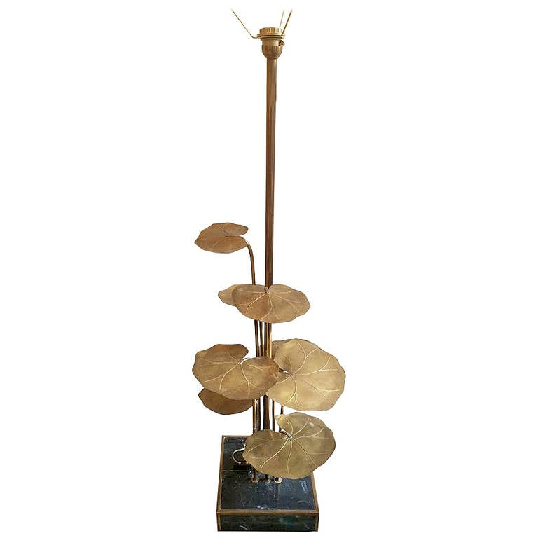 Brass water lily floor lamp at 1stdibs