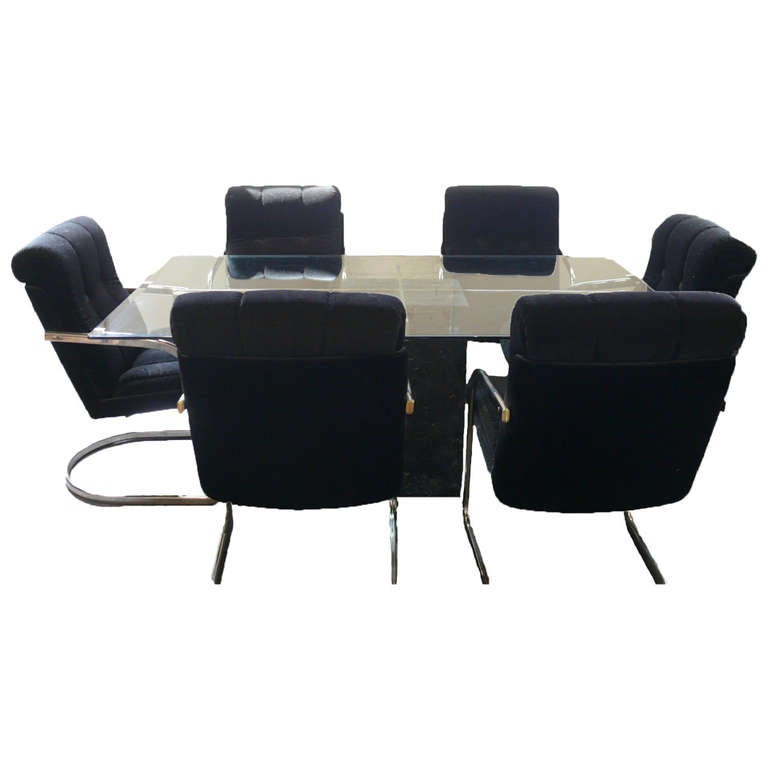 black dining room chairs with chrome legs navy blue rocking chair artedi table six velvet and at 1stdibs