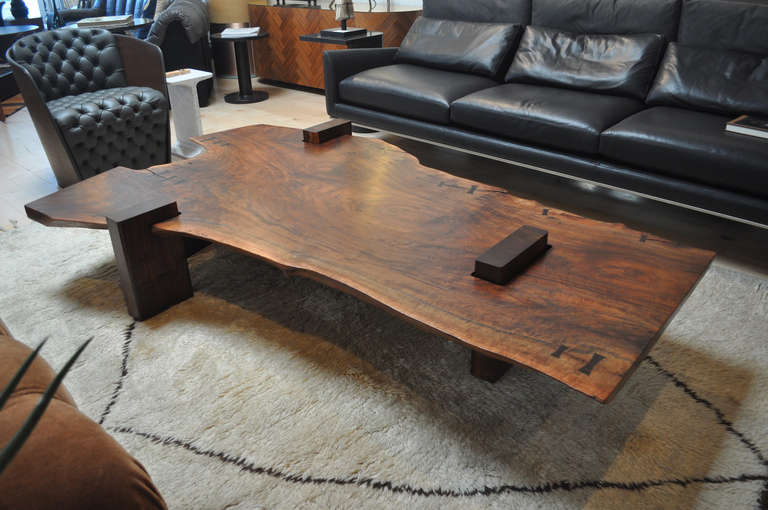 Large Scale Walnut Slab Coffee Table By Richard Patterson