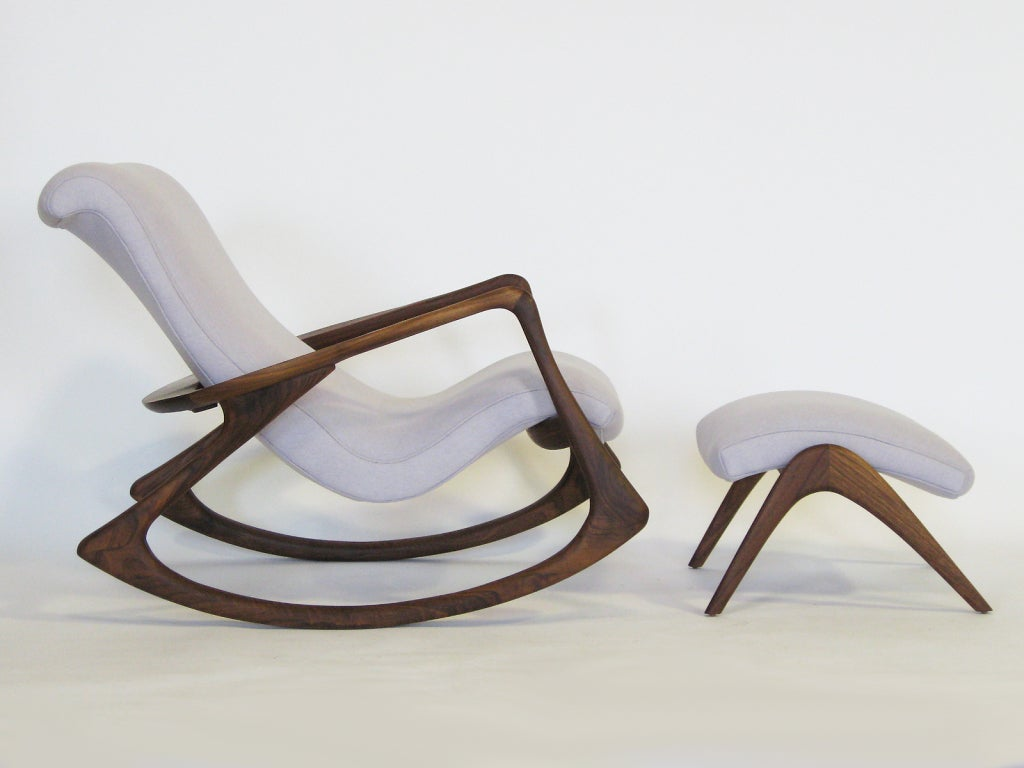 Comfortable Rocking Chair Contour Rocking Chair And Ottoman By Vladimir Kagan At 1stdibs