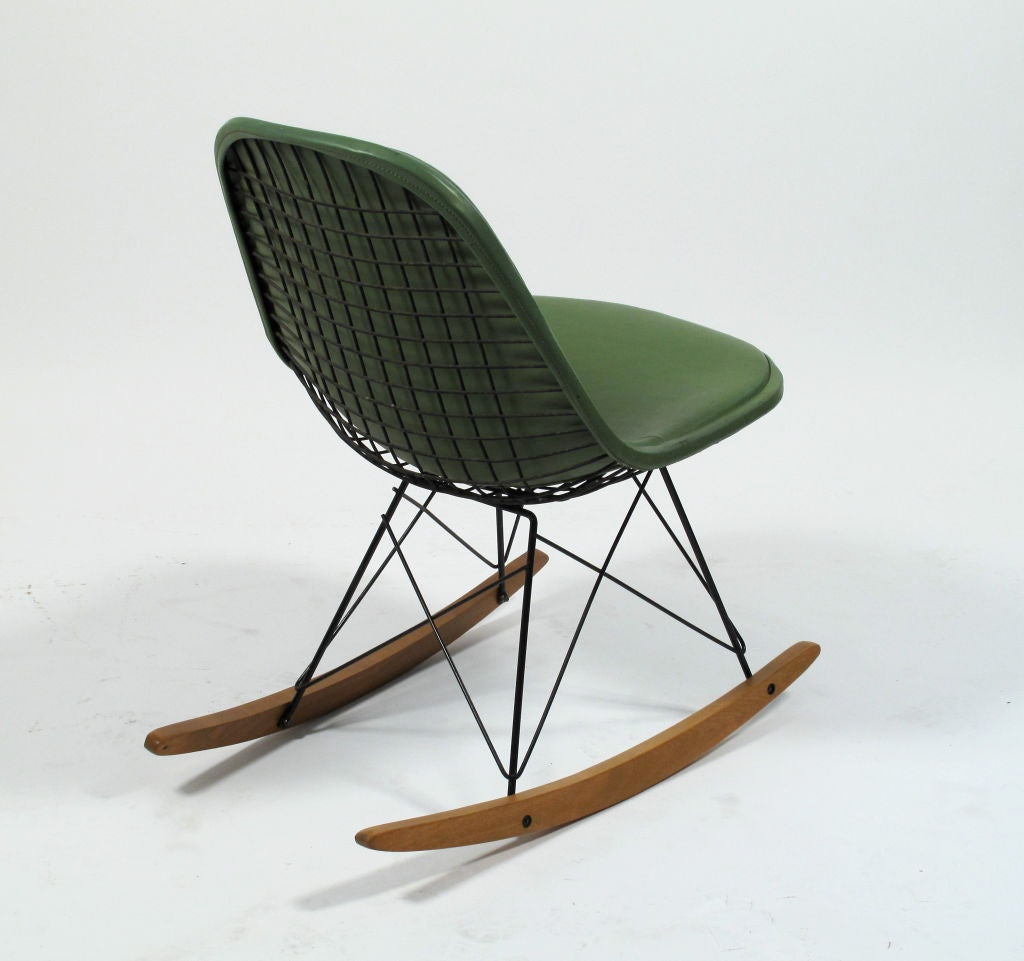 metal rocking chair runners cover hire moray charles eames rkr 1 wire rocker herman miller at 1stdibs