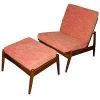 Mid Century Danish Teak Armless Lounge Chair and Ottoman ...
